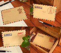 "Kraft Paper Envelopes (8pcs / 4 Designs) (11cm x 16.2cm / 4.4"" x 6.48"") Vintage Airmail Paris Triangle Flap Party Invitations Card S188"