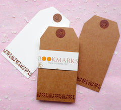 Blank Tags w/ Flower Pattern (24pcs / 4.5cm x 8.6cm / Kraft Paper Brown and White) Etsy Shop Tags Bookmark Plain Tag Gift Thank You Tag S192