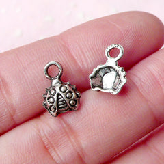 Beetle Charms Lady Bug Charm (12pcs) (8mm x 11mm / Tibetan Silver) Metal Findings Pendant Bracelet Earrings Zipper Pulls Keychain CHM655