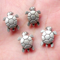 Turtle Beads (4 pcs) (13mm x 16mm / Tibetan Silver / 2 Sided) Metal Animal Beads Finding Pendant Bracelet Earrings Bookmark Keychains CHM662