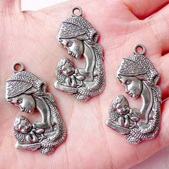Mother and Child Charms (3pcs) (20mm x 37mm / Tibetan Silver) Baby Charms Pendant Bracelet Earrings Zipper Pulls Bookmark Keychains CHM641