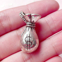 3D Money Bag Charms (1pc) (15mm x 28mm / Tibetan Silver) Cash Charms Pendant Bracelet Earrings Zipper Pulls Bookmarks Key Chains CHM644