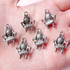 3D Antique Chair Charms (6pcs) (14mm x 20mm / Tibetan Silver) Dollhouse Metal Finding Pendant Bracelet Zipper Pulls Bookmark Keychain CHM659
