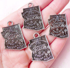State of Arizona Charms (4pcs) (20mm x 29mm / Tibetan Silver) American Map Bookmark Pendant Bracelet Earrings Zipper Pulls Keychain CHM678