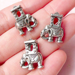 Elephant Beads (3pcs) (14mm x 19mm / Tibetan Silver / 2 Sided) Animal Beads Findings Spacer Pendant DIY Bracelet Earrings Making CHM688