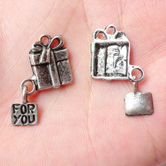 Gift Box w/ For You Tag Charms (4pcs) (15mm x 24mm / Tibetan Silver) DIY Gift Charms Pendant Bracelet Earrings Bookmark Keychains CHM694