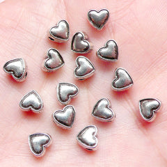 CLEARANCE Heart Beads (15pcs) (6mm x 6mm / Tibetan Silver / 2 Sided) Valentines Love Beads Finding Pendant Bracelet Earrings Bookmark Keychains CHM665