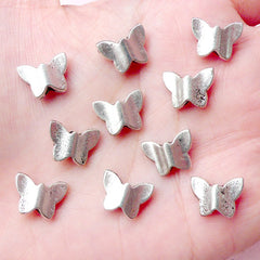 Butterfly Beads (10pcs) (12mm x 9mm / Tibetan Silver) Metal Insect Beads Findings Pendant Bracelet Earrings Bookmark Keychains CHM666