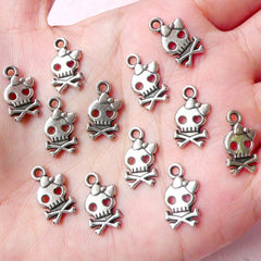 Kawaii Lady Skull Charms (12pcs) (9mm x 16mm / Tibetan Silver) Findings Pendant Bracelet Earrings Zipper Pulls Bookmarks Key Chains CHM687