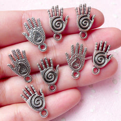 Healing Hand / Reiki Hand Charms (8pcs) (11mm x 19mm / Tibetan Silver / 2 Sided) Palm Charms Pendant Bracelet Earrings Keychains CHM719