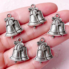 Christmas Bells Charms (5pcs) (17mm x 22mm / Tibetan Silver) Christmas Charms Pendant Bracelet Earrings Zipper Pulls Keychains CHM735