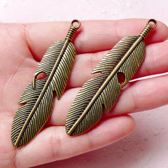 Big Feather Charms (2pcs) (15mm x 62mm / Antique Gold / 2 Sided) Metal Findings Pendant Bracelet Earrings Zipper Pulls Keychain CHM730
