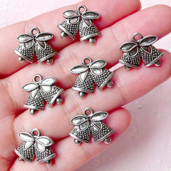 CLEARANCE Christmas Bells Charms (7pcs) (16mm x 14mm / Tibetan Silver / 2 Sided) Christmas Pendant Bracelet Earrings Zipper Pulls Keychains CHM734