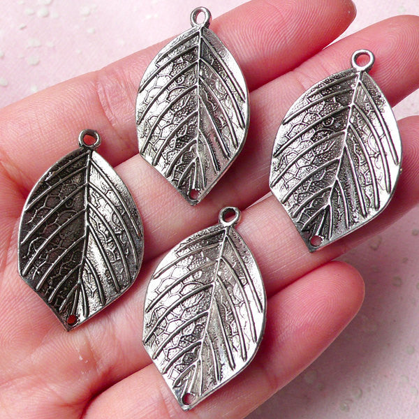 3D Leaf Charms / Connector (4pcs) (19mm x 32mm / Tibetan Silver / 2 Sided) Pendant Bracelet Earrings Zipper Pulls Bookmarks Keychains CHM756