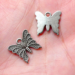 Butterfly Charms (10pcs) (16mm x 14mm / Tibetan Silver) Animal Charms Metal Bookmark Pendant Bracelet Earrings Zipper Pulls Keychain CHM760