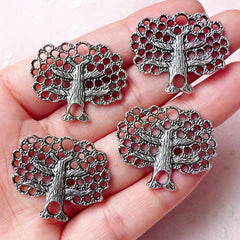 Apple Tree Charms (4pcs) (28mm x 24mm / Tibetan Silver) Metal Findings Pendant Bracelet Earrings Zipper Pulls Keychains Bookmark CHM786