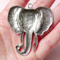 Big Elephant Head Charms (1pc) (47mm x 54mm / Tibetan Silver) Animal Charms Findings Pendant Bracelet Earrings Zipper Pulls Keychain CHM774
