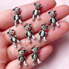 Bear Charms (8pcs) (9mm x 18mm / Tibetan Silver / 2 Sided) Metal Findings Pendant Bracelet Earrings Zipper Pulls Bookmark Keychains CHM784