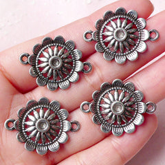 Flower Connectors Charms (4pcs) (21mm x 28mm / Tibetan Silver) Floral Charms Pendant Bracelet Earrings Making Bookmark Keychains CHM787