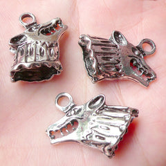 3D Wolf Head Charm (3pcs) (24mm x 16mm / Tibetan Silver / 2 Sided) Animal Charms DIY Pendant Bracelet Earrings Zipper Pulls Keychains CHM796