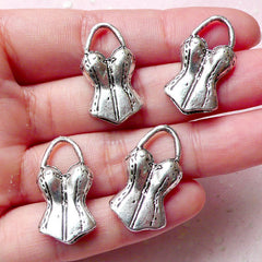 Swimsuit Charms (4pcs) (14mm x 26mm / Tibetan Silver) Sport Charms Findings Pendant Bracelet Earrings Bookmark Zipper Pulls Keychains CHM800