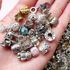 Metal Beads (10pcs by Random) Metal Findings Spacer Slider DIY Pendant Bracelet Earrings Jewelry Making CHM803