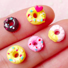 Tiny Miniature Donut Cabochon Mix for NAIL ART (5 pcs) Assorted Mini Doughnut Set Dollhouse Sweets Nail Decoration Earrings Making NAC157