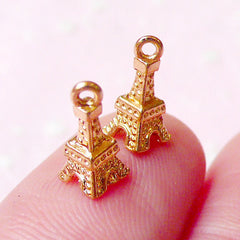 Tiny 3D Paris Tower Cabochon (2pcs) (Gold Plated) Mini Tower Charms Fake Miniature Cupcake Topper Earrings Making Nail Art Decoration NAC161