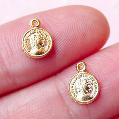 Tiny Coin Cabochon / Charms (2pcs) (6mm x 8mm / Gold) Nail Art Nail Decoration Jewelry Making Mini Charms NAC171