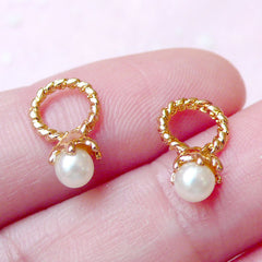 Tiny Ring w/ Pearl Cabochon / Charms (2pcs) (Gold) Fake Miniature Cupcake Topper Jewelry Making Nail Art Nail Decoration NAC177