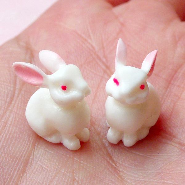 Kawaii 3D Rabbit Bunny Cabochon (2pcs) Phone Case Decoden Scrapbooking Whimscial Jewelry Making Animal Cabochon Fake Cupcake Topper CAB348