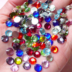 6mm Resin Round Faceted Rhinestones Mix (250 pcs) Decoden Kawaii Cell Phone Deco Scrapbooking Nail Art Nail Decoration RHM025