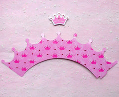 Cupcake Wrappers and Toppers - Pink Princess Crown - Cake Deco / Cupcake Decoration / Packaging (6 Sets) CUP26