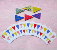 Cupcake Wrappers and Toppers - Happy Birthday Party Banner - Cake Deco / Cupcake Decoration / Packaging (6 Sets) CUP28