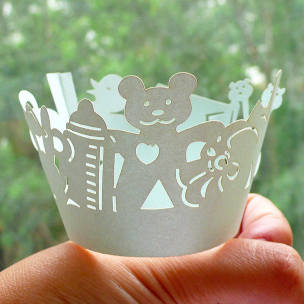 Cupcake Wrappers - Baby Blue Children's Toy - Laser Cut Blue Cupcake Wrapper - Cake Deco / Cupcake Decoration / Packaging (6pcs) CUP22