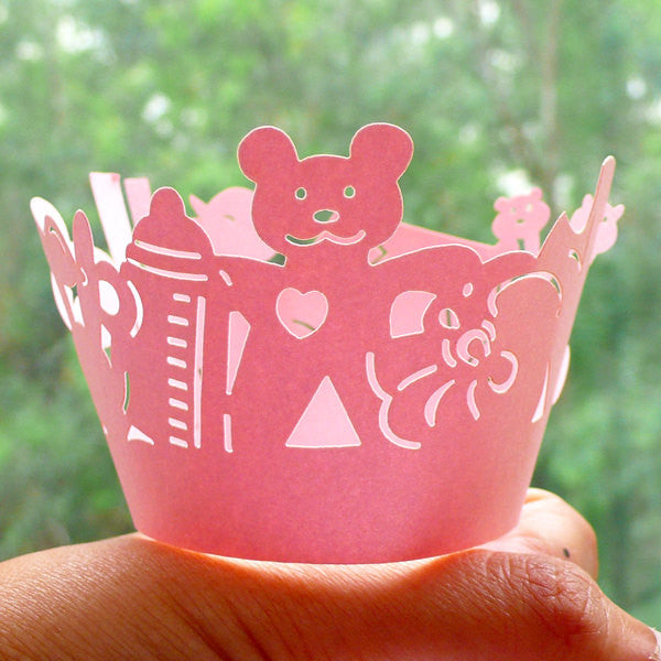 Cupcake Wrappers - Baby Pink Children's Toy - Laser Cut Pink Cupcake Wrapper - Cake Deco / Cupcake Decoration / Packaging (6pcs) CUP23