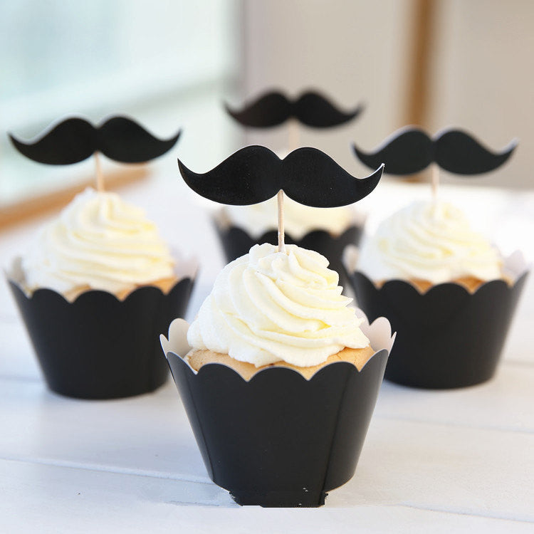 Cupcake Wrappers and Toppers - Black Mustache - Cake Deco / Cupcake Decoration / Packaging (6 Sets) CUP25