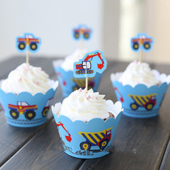 Cupcake Wrappers and Toppers - Blue Dragline Excavator Toy Car - Cake Deco / Cupcake Decoration / Packaging (6 Sets) CUP27
