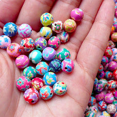Flower Polymer Clay Beads Mix / Assorted Beads (8mm / Round / Floral / 20pcs by Random) Jewelry Necklace Bracelet Keyring Charm Making F107