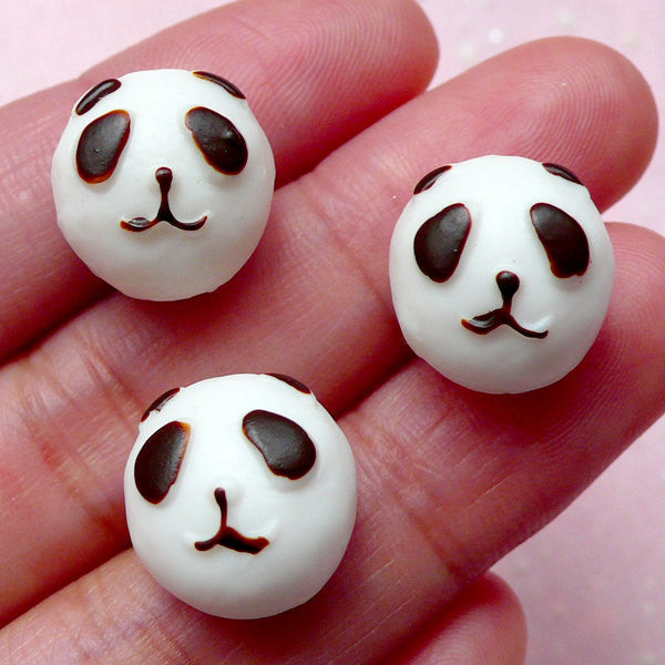 Panda Bun Cabochons (3pcs / 14mm x 10mm / Flat Back) Kawaii Animal Bread Miniature Sweets Dollhouse Food Phone Case Deco Decoden FCAB243