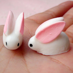 Snow Rabbit Cabochon (2pcs / 20mm x 15mm / 3D) Animal Bunny Cabochons Cell Phone Deco Dust Plug Whimscial Jewelry Fake Cupcake Topper CAB349