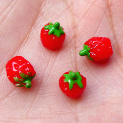 Tiny Strawberry Cabochons (4pcs / 5mm x 7mm / 3D) Faux Cupcake Topper Kawaii Fruit Topping Miniature Sweets Ice Cream Parfait Sundae FCAB241