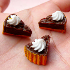 Chocolate Cheesecake / Cake Slice Cabochon (3pcs / 13mm x 17mm / 3D) Kawaii Miniature Sweets Dollhouse Food Cell Phone Deco Decoden FCAB244