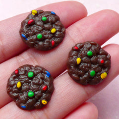 Cookie Cabochon w/ Colorful Chocolate Chips (3pcs / 17mm / Flat Back) Kawaii Dollhouse Sweets Fake Biscuit Miniature Cookie Decoden FCAB251
