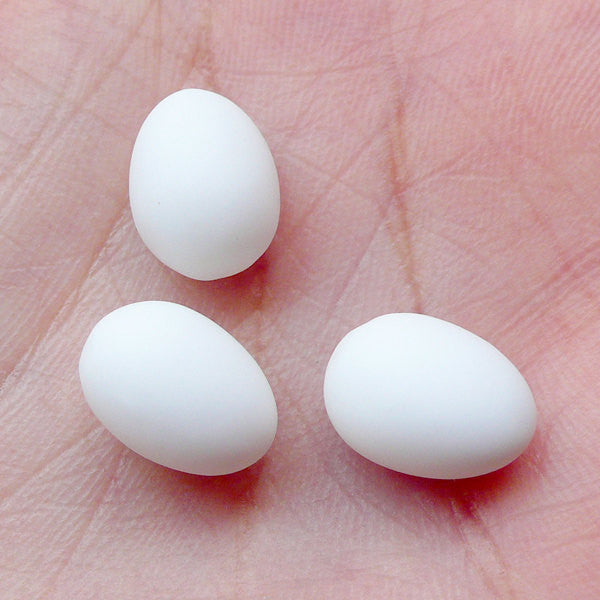 Dollhouse White Egg Cabochon (3pcs / 8mm x 11mm / 3D) Kawaii Dollhouse Food Craft Miniature Easter Egg Making Whimsical Jewellery FCAB257