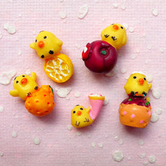 Mini Yellow Duck w/ Fruit Cabochons (5pcs / 11mm x 17mm / 3D) Cell Phone Deco Kawaii Dust Plug Making Decoden Animal Scrapbooking FCAB258