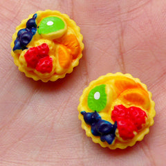 Miniature Fruit Tart Cabochons (2pcs / 16mm / Flat Back) Dollhouse Food Sweets Decoden Whimsical Cellphone Deco Kawaii Scrapbooking FCAB262