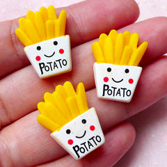 Kawaii Cabochons / French Fries Potato Finger Chips Frites (3pcs / 17mm x 22mm / Flat Back) Cellphone Deco Decoden Scrapbooking FCAB263
