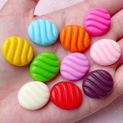 Faux Japanese Candy Cabochon (10pcs / 19mm x 16mm / Flat Back) Actual Size Sweets Kawaii Cell Phone Deco Kitsch Jewelry Scrapbooking FCAB256