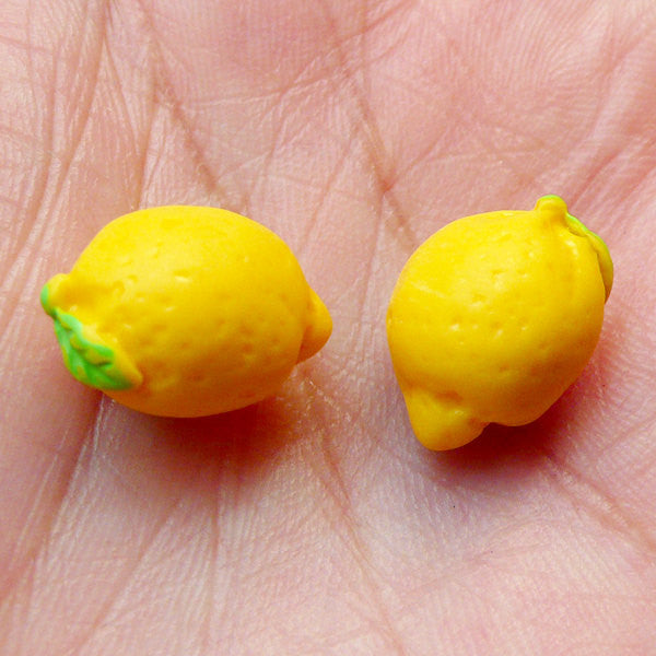 Dollhouse Lemon Cabochons (2pcs / 10mm x 15mm / 3D) Miniature Fruit Cabochon Whimsical Kitsch Jewellery Scrapbooking Cellphone Deco FCAB264